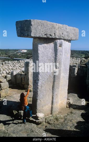 Menorca. Minorca Balearic islands. Taula, Torralba d'en Salord.near Alaior Menorca, Spain. Megalithic monument - Stock Image