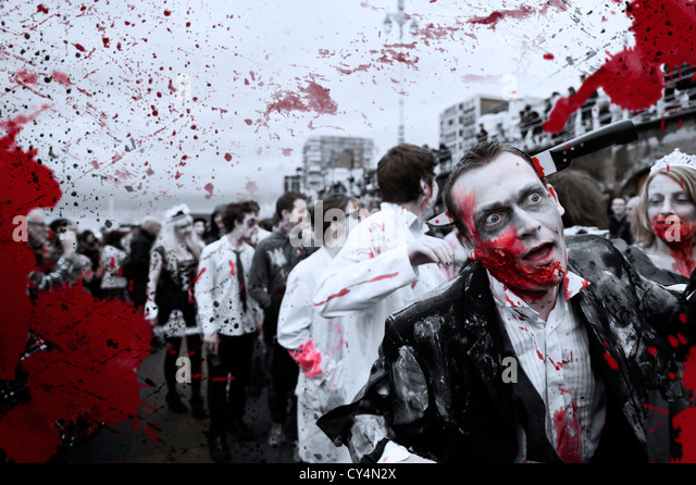 Zombies taking part in the Brighton Zombie Parade - 20th October 2012 - Stock Image