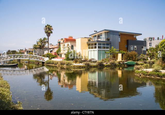 Houses and canal at Venice, Los Angeles, California, USA - Stock Image