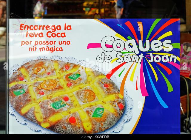 coca de sant joan, traditional catalonian handmade dessert, midsummers eve, st.johns eve, catalonia, spain, - Stock Image