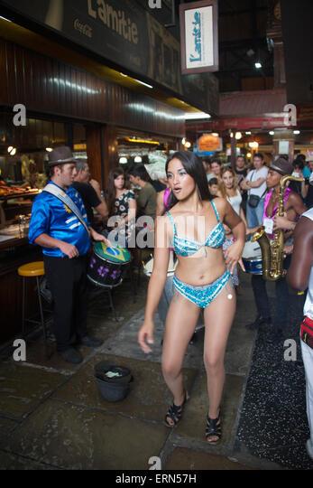 Female dancer port market Cuidad Viejo Montevideo Uruguay - Stock Image