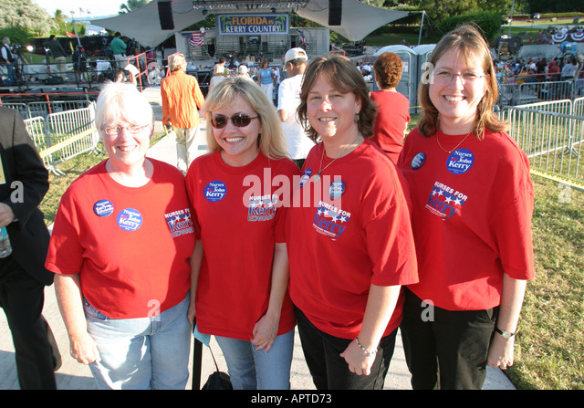 Miami Florida Democratic Party Presidential Election rally women wear red shirts Nurses for Kerry - Stock Image