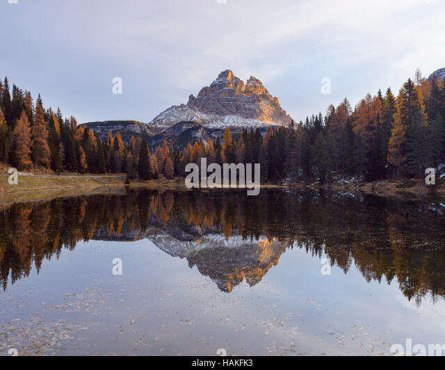 Tre Cime di Lavaredo reflected in Lago d'Antorno at Sunrise, Misurina, Cadore, Belluno District, Veneto, Dolomites, - Stock Image