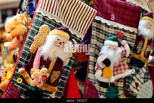 Santa Claus Christmas Stocking - Stock Image
