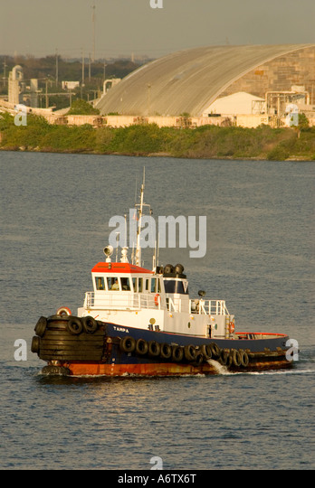 Tug boat Tampa Bay Florida Port of Tampa open space text space copy space type space - Stock Image