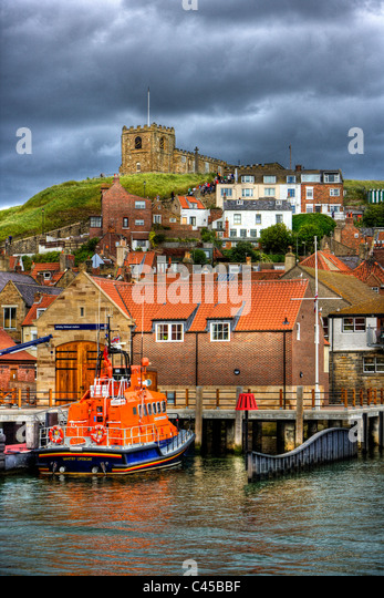 Whitby, Yorkshire, England rnli lifeboat in dock waiting for emergency in the sea or harbour, harbor - Stock Image