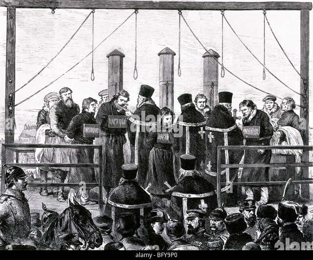 ASSASINATION OF ALEXANDER II of Russia March 1881. Five of the assassins were hanged, others sent to Siberia - Stock-Bilder