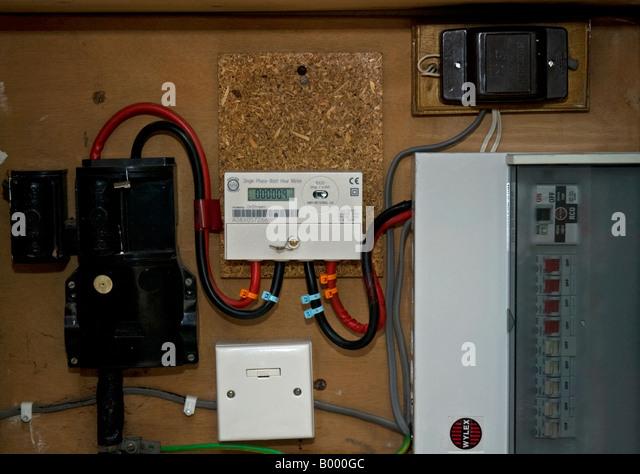 Electric meter uk stock photos