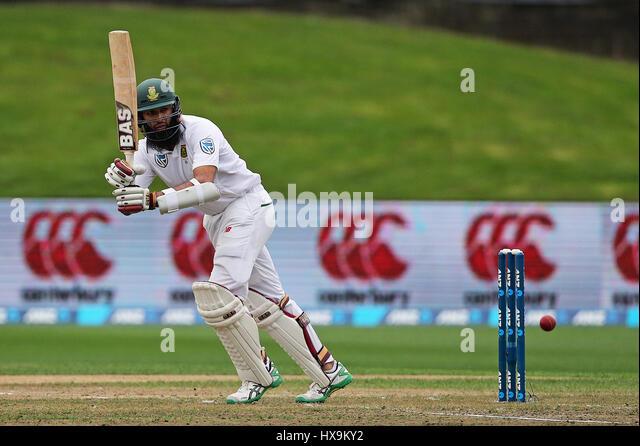 Hamilton, New Zealand. 25th Mar, 2017. March 25th 2017, Hamilton, New Zealand; South Africa's Hashim Amla hits - Stock-Bilder