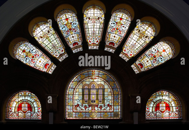 Stained glass windows in the Queen Victoria Building Sydney Australia - Stock Image