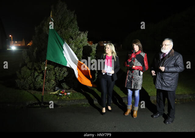 Sinn Fein's new leader at Stormont Michelle O'Neill (left) arriving to address a commemoration in Clonoe, - Stock Image