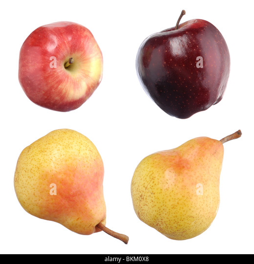 Closeup of red apples and yellow pears isolated on white background - Stock Image