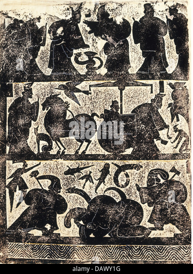 fine arts, China, brass rubbing, wall of the funerary chamber of the Vu family in Shandong, fight with the giant - Stock-Bilder