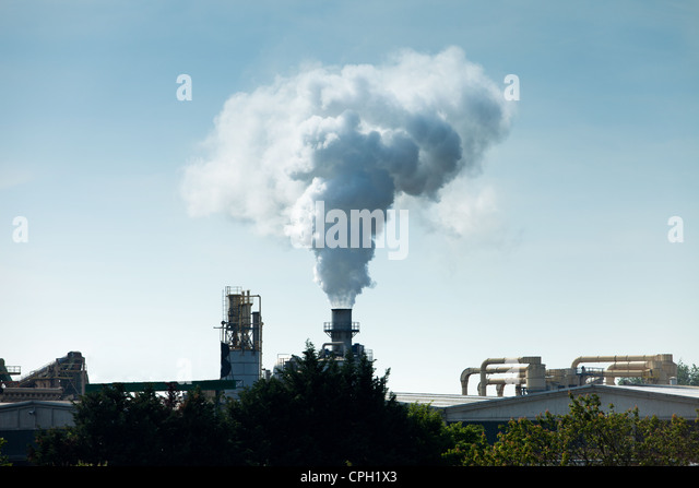 Heavy Industry - Oil Production Industry, Massive Air Pollution - Stock Image