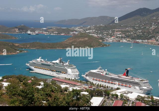 St. Thomas USVI Paradise Point Charlotte Amalie Harbor. cruise ships Caribbean Sea - Stock Image