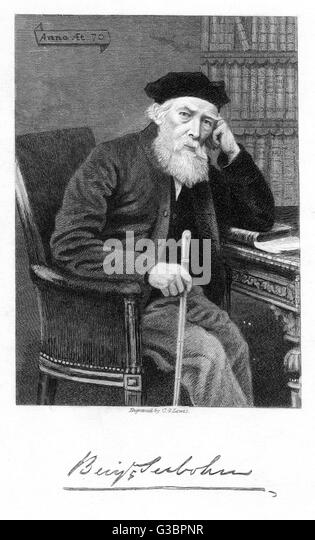 BENJAMIN SEEBOHM Prominent quaker of Bradford  with his autograph       Date: 1798 - 1871 - Stock Image