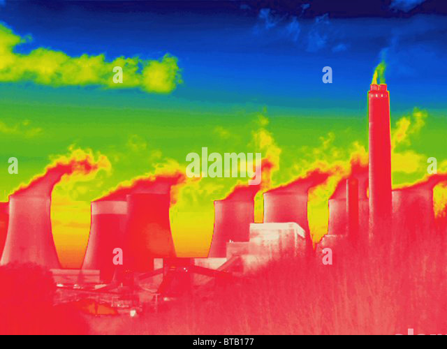 Thermal image of a power station - Stock Image