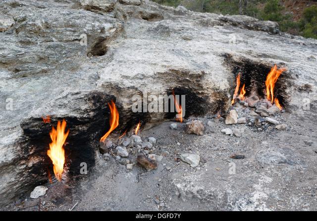 Eternal flames, Chimaira, Kemer, Lycia, Province of Antalya, Turkey - Stock Image