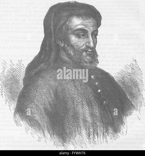 SOUTHWARK: Geoffrey Chaucer. London, antique print c1880 - Stock Image