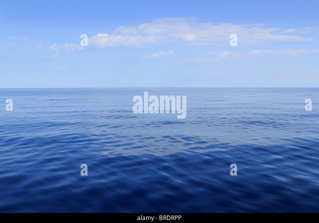 blue sea horizon ocean perfect in calm sunny day mediterranean - Stock Image