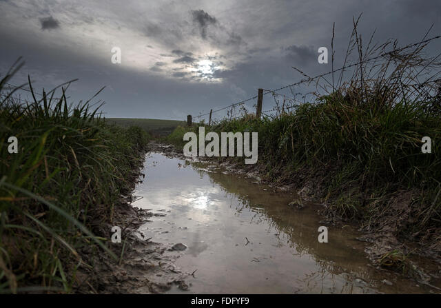 Waterlogged and muddy footpath in the South Downs National Park near Ovingdean, Brighton, East Sussex - Stock Image