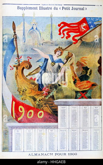 (Illustration) showing an almanach for 1900. French art nouveau style. - Stock Image
