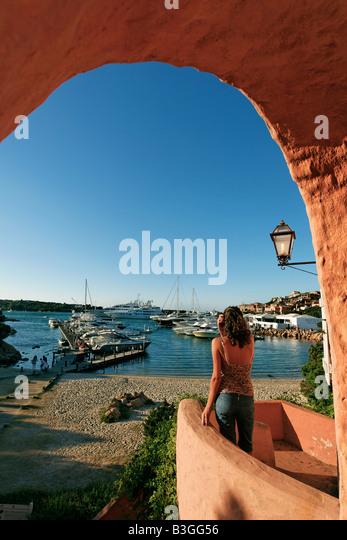 Italy Sardinia Costa Smeralda Porto Cervo harbour - Stock Image