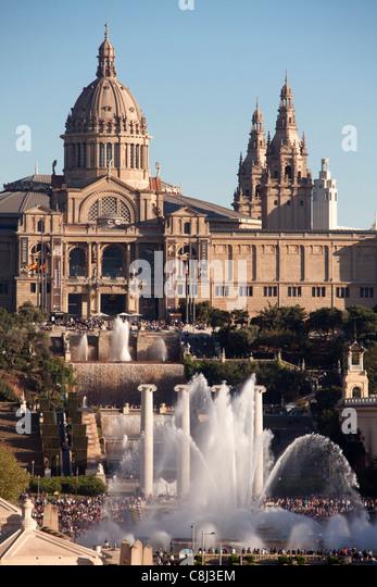 Spain, Europe, Catalunya, Barcelona, Espana Square, Montjuich, Palace, fountains - Stock Image