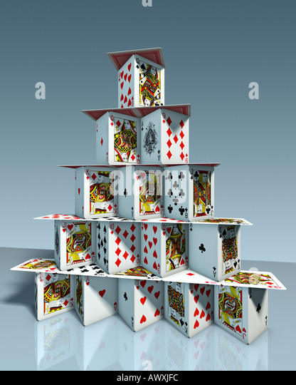 chart house castle in the air deck of cards pack of cards symbol of balance harmony organisation state club association - Stock Image