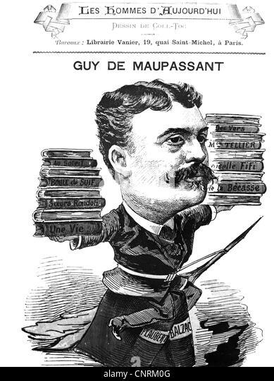 Maupassant, Guy de, 5.8.1850 - 7.7.1893, French author / writer, caricature, late 19th century, beard, moustache, - Stock Image