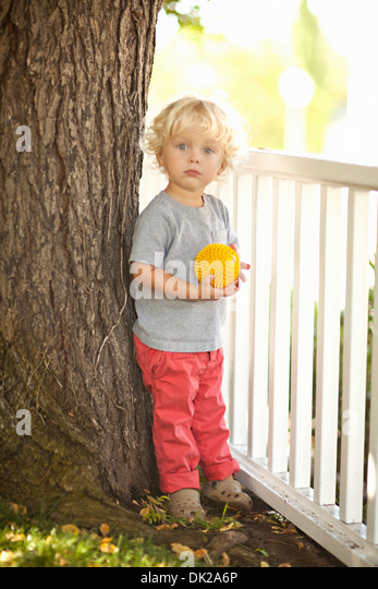 Portrait of blonde toddler boy with curly hair holding yellow ball by tree trunk and fence in backyard - Stock Image