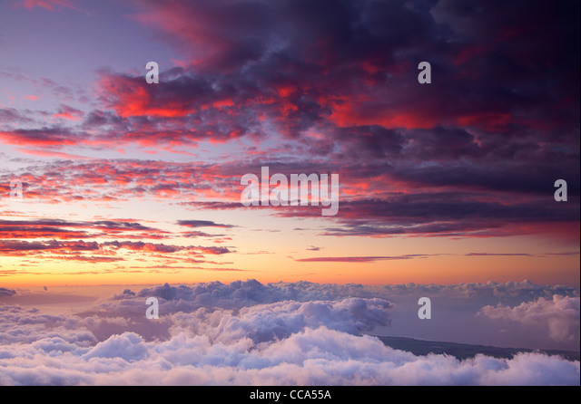 Sunset from near the top of Haleakala, Haleakala National Park, Maui, Hawaii. - Stock Image