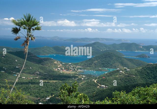US Virgin Islands St. John Coral Bay Harbor view from Centerline Road USVI018 - Stock Image