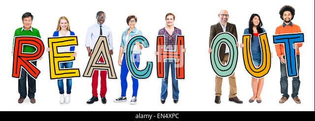 Multiethnic Group of People Holding Letter Reach Out - Stock Image