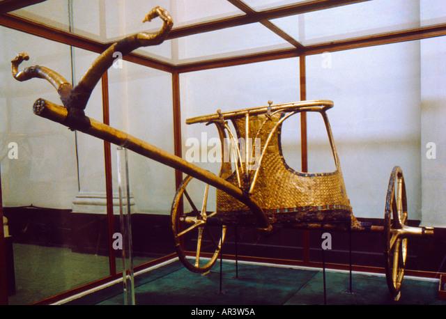 Cairo Egypt Golden Chariot Of King Tutankhamun - Stock Image