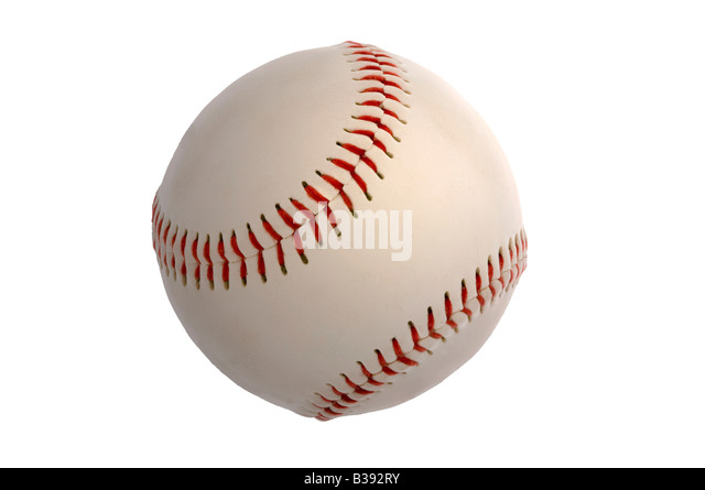 New baseball knock out on white - Stock Image