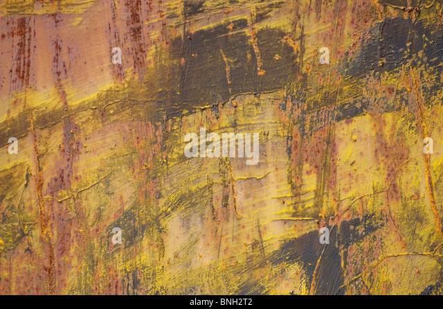 Abstract paint red orange brown yellow pink textures drips art autumn fall shades - Stock Image