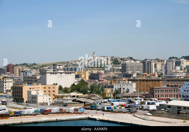 Cagliari City, Sardinia, Europe,  Port Sardinia harbour harbor dock dockside skyline town city cityscape holiday - Stock Image