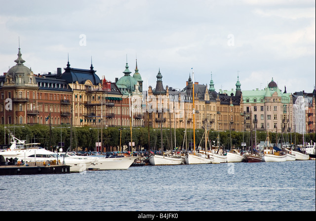 Small Yacht Harbor Stockholm City Sweden - Stock Image