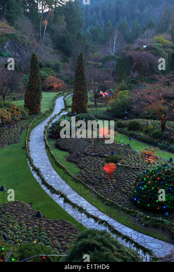 Butchart gardens at christmas stock photos butchart - What time does victoria gardens close ...
