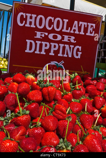 Ripe long stalk strawberries on display farmers market stall ready for chocolate dipping Embarcadero San Francisco - Stock Image