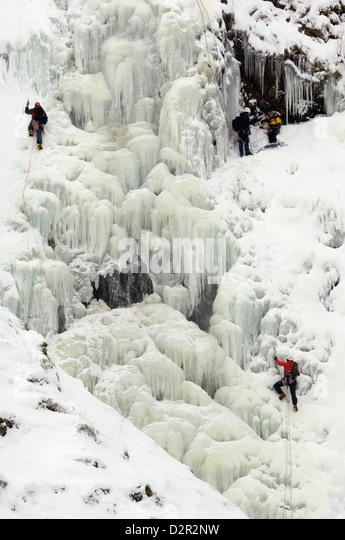 Ice climbing on Grey Mare's Tail Waterfall, Moffat Hills, Moffat Dale, Dumfries and Galloway, Scotland, United - Stock Image