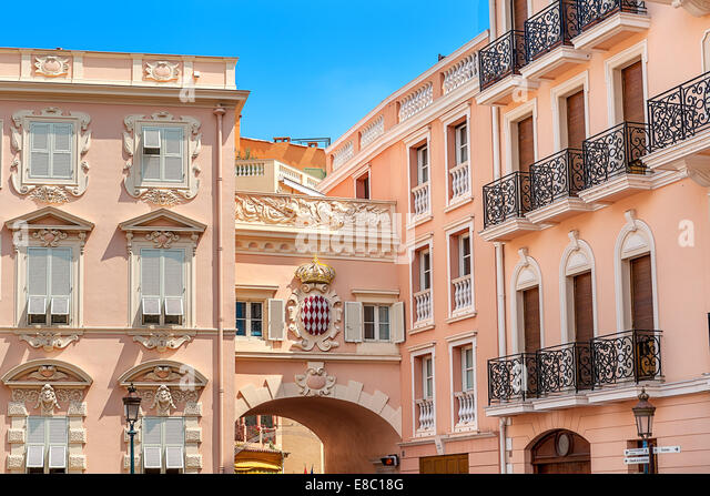 Typical architecture in Monaco-Ville, Monaco. - Stock Image