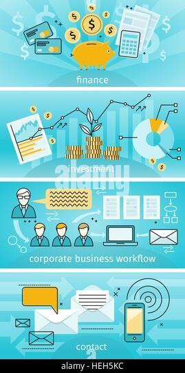 Business Concept Finance Investment. Business concept finance investment flat design. Banner set corporate business - Stock-Bilder