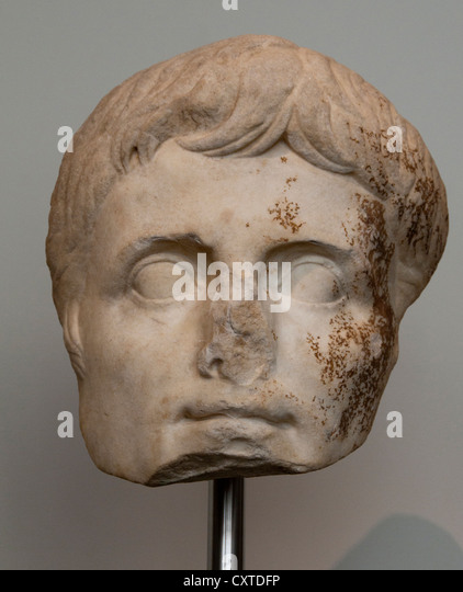 Colossal marble head of the emperor Augustus Julio Claudian  A.D. 14–30  Roman Marble (45.4 x 38.1 cm) Italy Italian - Stock Image