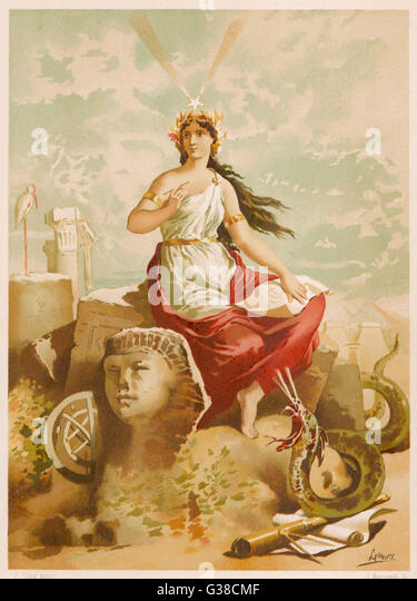 depicted as patroness of the  arts and sciences, including  those of magic - Stock-Bilder