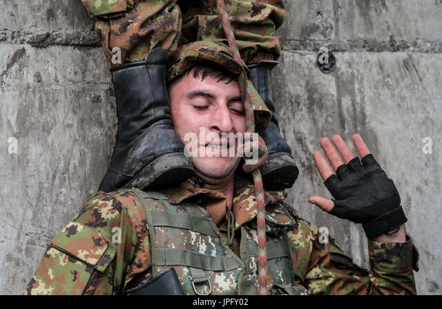 Novosibirsk, Russia. 2nd Aug, 2017. An Armenian serviceman during a stage of the Army Scout Masters competition - Stock Image