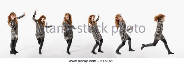 Sequence woman dancing, listening to music with headphones against white background - Stock-Bilder