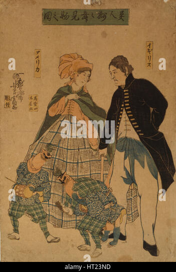 Foreigners watching New Year's dance, 1861. Artist: Utagawa, Yoshitomi (active 1850-1870) - Stock-Bilder