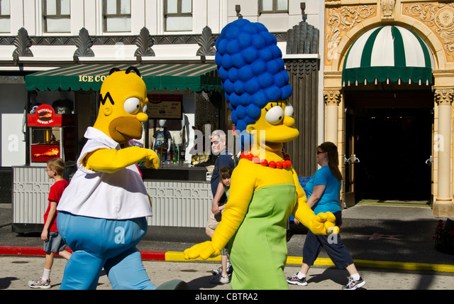 Homer and Marge Simpson characters at Universal Studios Orlando Florida - Stock Image
